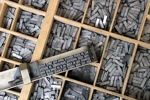 letters op letterregel en letterbak