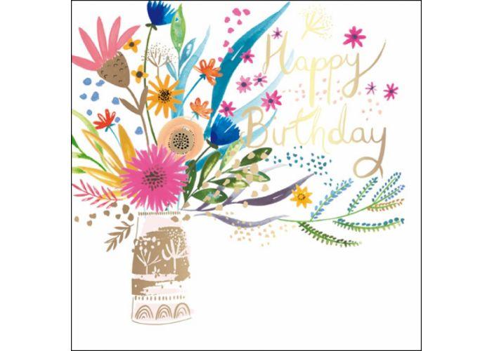 luxe verjaardagskaart woodmansterne - happy birthday - vaas met bloemen