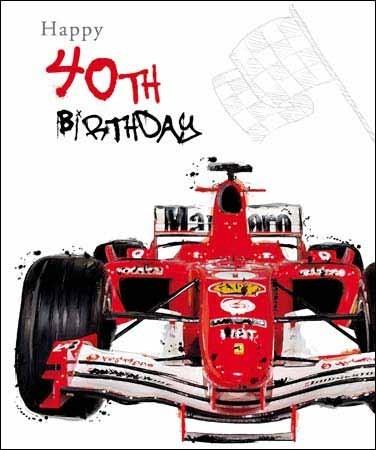 auto 40 jaar 40 jaar grote verjaardagskaart   happy 40th birthday   race auto  auto 40 jaar