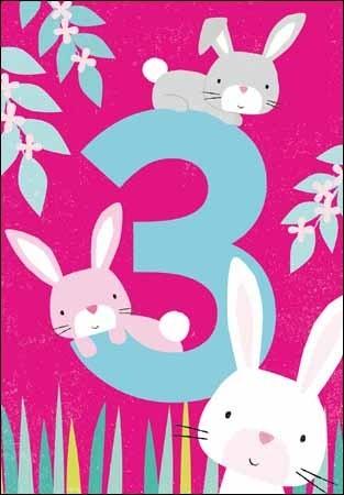 verjaardagskaart 3 jaar 3 jaar   verjaardagskaart   konijnen | Muller wenskaarten verjaardagskaart 3 jaar