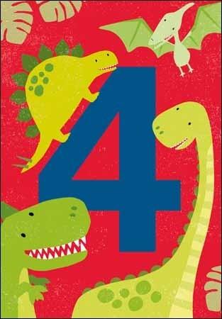 verjaardagskaart 4 jaar 4 jaar   verjaardagskaart   dinosaurus | Muller wenskaarten verjaardagskaart 4 jaar