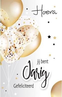 gefeliciteerd ballonnen verjaardagskaart   hoera jij bent jarig gefeliciteerd   ballonnen  gefeliciteerd ballonnen