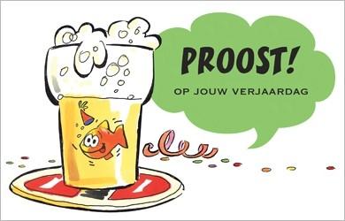 Verjaardagskaart Proost Op Jouw Verjaardag Goudvis En Bier