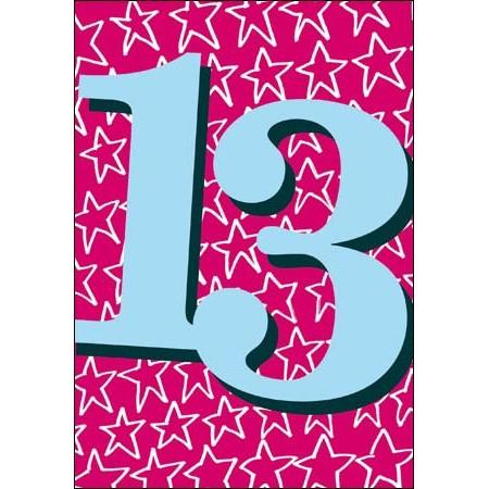 13 Jaar Verjaardagskaart Woodmansterne Blauw Roze Muller