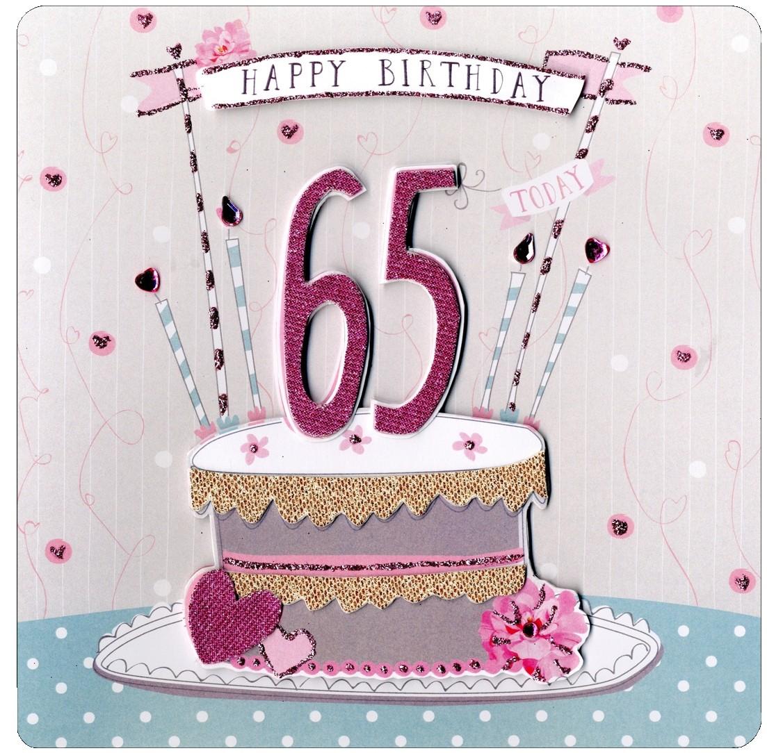 verjaardagskaart 65 jaar 65 jaar   luxe grote verjaardagskaart   happy birthday   taart  verjaardagskaart 65 jaar