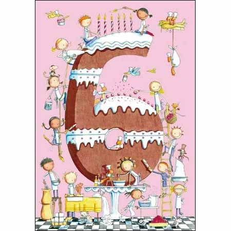 6 jaar kind 6 jaar   verjaardagskaart kind   taart | Muller wenskaarten 6 jaar kind