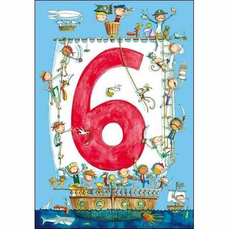 6 jaar kind 6 jaar   verjaardagskaart kind   piratenschip | Muller wenskaarten 6 jaar kind