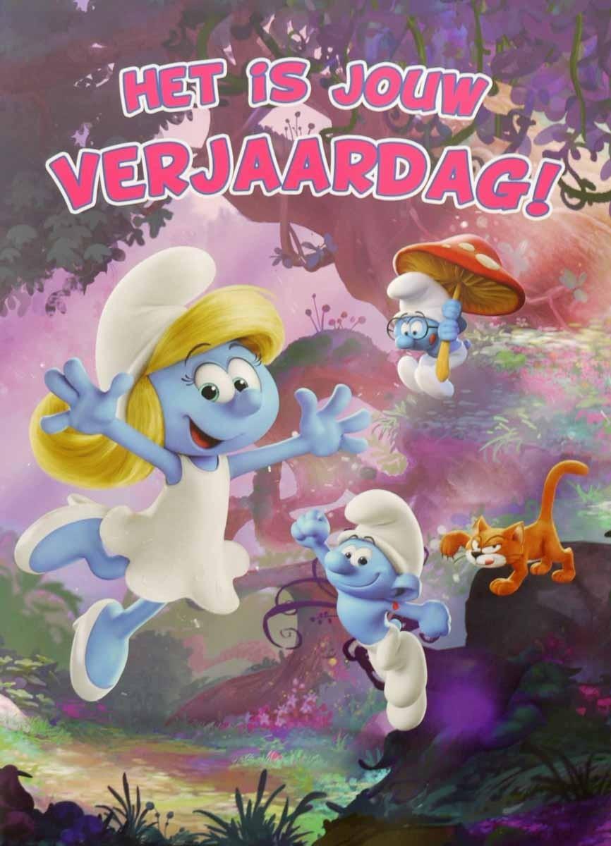 Grote Verjaardagskaart A4 Het Is Jouw Verjaardag Smurfen