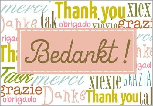 Ansichtkaart Bedankt Danke Thank You Tak Obrigado Muller Wenskaarten