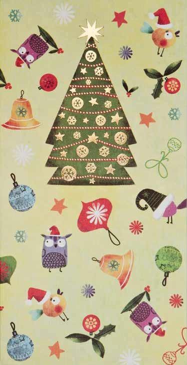 Kerstkaart Cadeau Envelop Kerstboom En Uiltjes Busquets