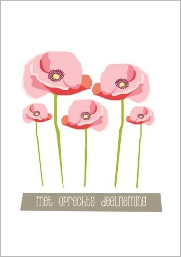 condoleancekaart - met oprechte deelneming - bloemen | muller