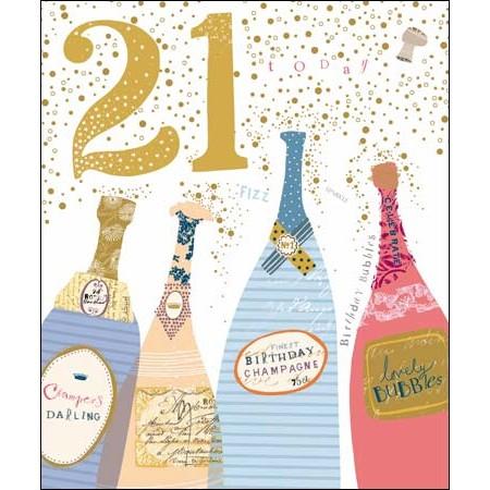 Fabulous 21 jaar - grote verjaardagskaart woodmansterne - 21 - champagne  #BX35