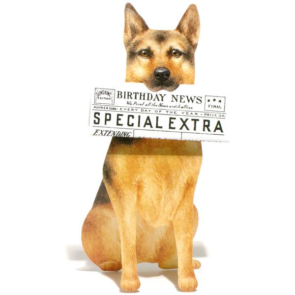 3d uitgestanste verjaardagskaart dogs news: duitse herder - hond