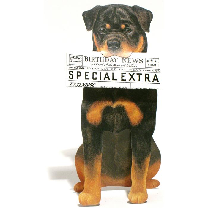 3d Uitgestanste Verjaardagskaart Dogs News Rottweiler Hond