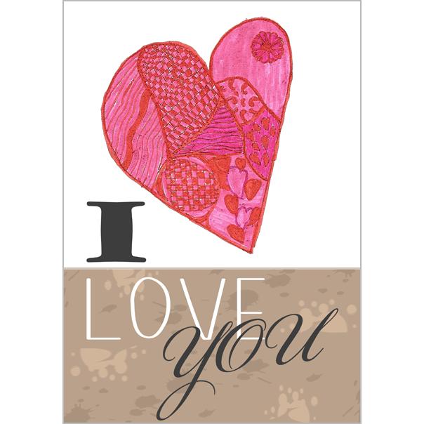 Grote Romantische Kaart A4 Valentijnskaart I Love You Muller
