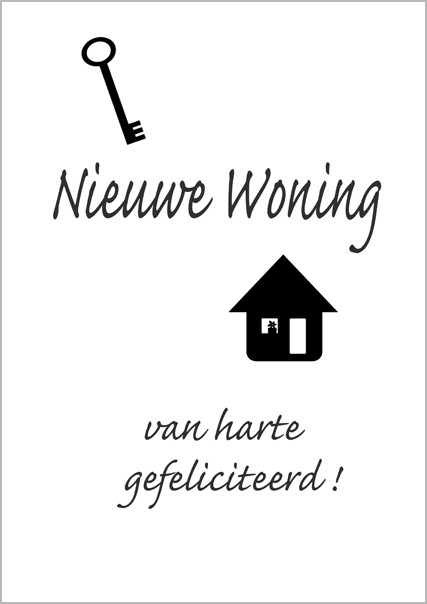 Grote wenskaart a4 nieuwe woning van harte gefeliciteerd for Nieuwe woning wensen