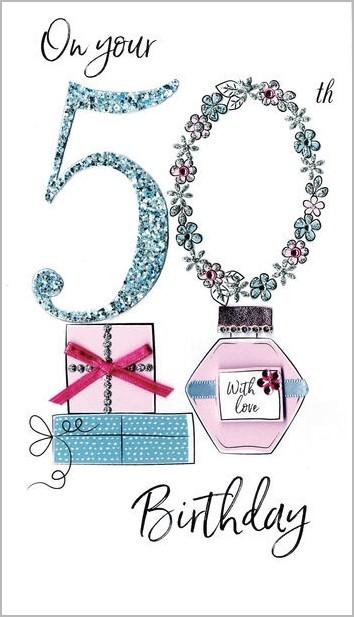 Voorkeur 50 jaar - grote luxe verjaardagskaart - on your 50th birthday &DR85