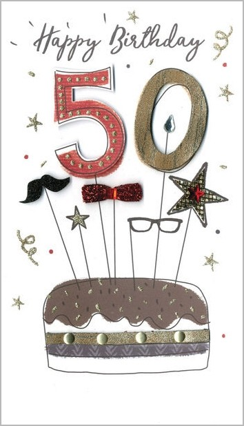 Bedwelming 50 jaar - grote luxe verjaardagskaart - 50 happy birthday - taart @GT83