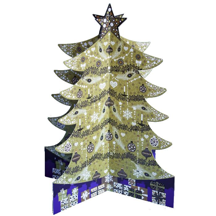 3d Adventskalender A4 Met Envelop Kerstboom Goud Woodmansterne