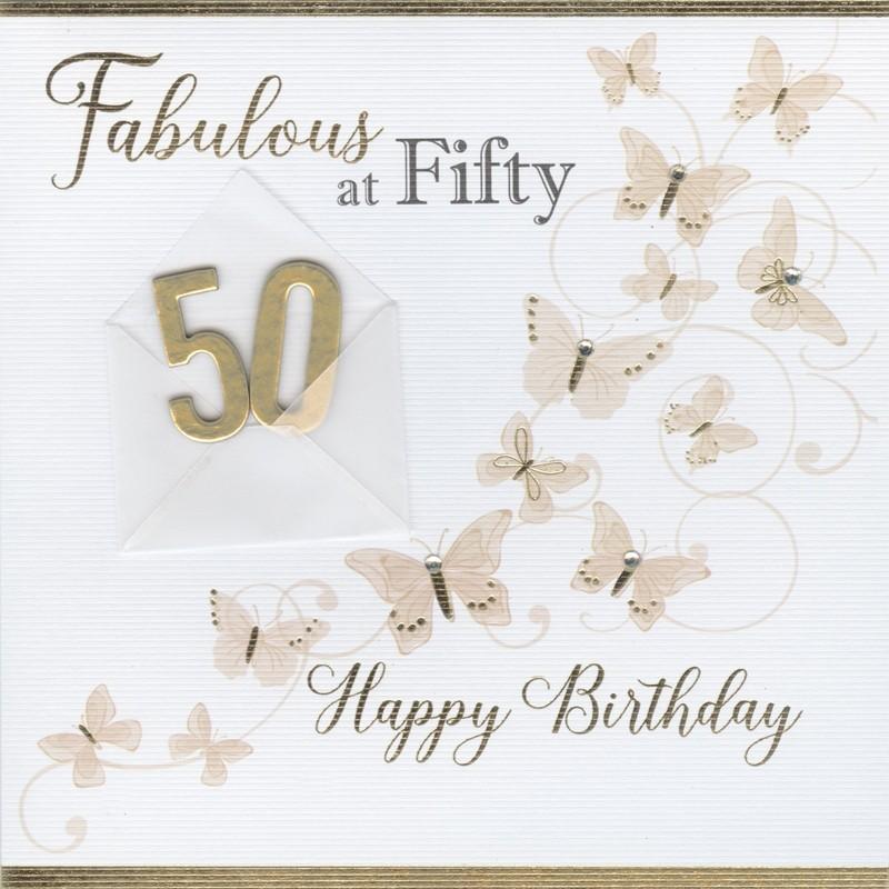 50 Jaar Luxe Verjaardagskaart Fabulous At Fifty Happy Birthday