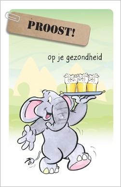 Verjaardagskaart Proost Op Je Gezondheid Olifant Muller