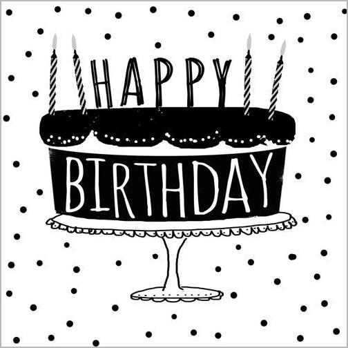 Verjaardagskaart Piano Handwriting Happy Birthday Taart Muller