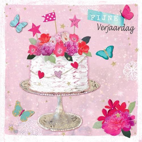 verjaardagskaart bloemen verjaardagskaart   fijne verjaardag   taart met bloemen | Muller  verjaardagskaart bloemen