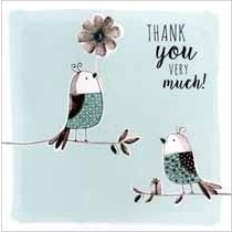 grote luxe bedankkaart - thank you so much - vogels