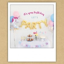 ansichtkaart instagram pickmotion - it is your birthday let us party - eenhoorn