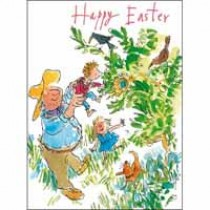 paaskaart woodmansterne quentin blake - happy easter - kinderen en opa in de tuin