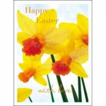 5 paaskaartjes woodmansterne - happy easter with love- narcissen