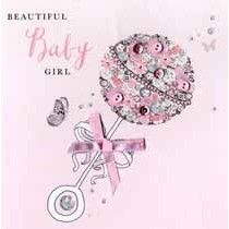 luxe geboortekaart - beautiful baby girl - rammelaar