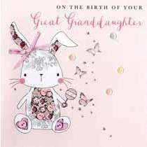 luxe geboortekaart achterkleindochter - on the birth of your great granddaughter - konijn