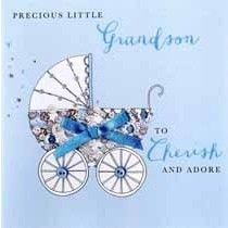 luxe geboortekaart kleinzoon - precious little grandson to cherish and adore