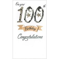 grote luxe verjaardagskaart - 100 jaar -On your 100th Birthday congratulations