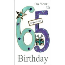 65 jaar - grote luxe verjaardagskaart - on your 65th birthday