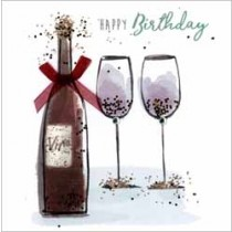 verjaardagskaart sparkle dust - happy birthday - wijn