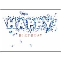 verjaardagskaart woodmansterne blue - happy birthday - lavendel en vlinder
