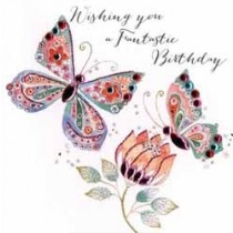 verjaardagskaart - wishing you a fantastic birthday - vlinders