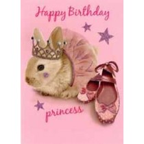 verjaardagskaart - happy birthday princess - konijn