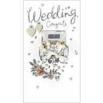 grote luxe trouwkaart - wedding congrats just married - auto