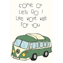 wenskaart mouse & pen - come on lets go! life wont wait for you - vw busje