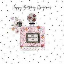 grote luxe verjaardagskaart pearl - happy birthday gorgeous - parfum no 1 birthday girl