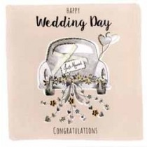 grote luxe trouwkaart - happy wedding day congratulations - auto just married