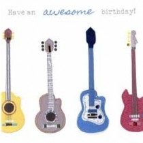 verjaardagskaart - have an awesome birthday - gitaren gitaar