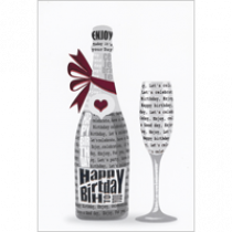verjaardagskaart - happy birthday enjoy your day - champagnefles met roze strik