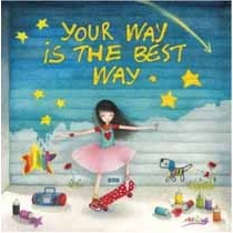 vierkante ansichtkaart met envelop -  mila - your way is the best way