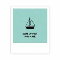 ansichtkaart  pickmotion mini-picks - sail away with me - zeilboot