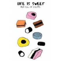wenskaart mouse & pen - life is sweet and full of colors - engels drop