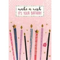 verjaardagskaart - make a wish it is your birthday - kaarsjes